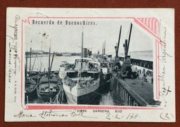 RECUERDO DE BUENOS AIRES  VISTA DARSENA SUD  CON PIROSCAFO  FROM ALTA GRACIA  TO RAVENNA ITALY   11/5/1902 - Argentina