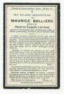 Doodsprentje  *  Balliere Maurice (° Zandvoorde 1900 /  + Zandvoorde 1920)  Zoon Henri Balliere & Leerman Eugenie - Religione & Esoterismo