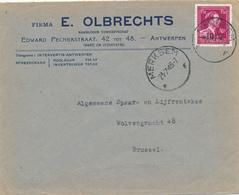 413/27 -- Lettre TP Moins 10 % Surcharge Locale MERKSEM 1946 - Entete Firma Olbrechts , Suiker En Koolzuur - 1946 -10%