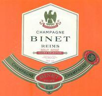 étiquette + Collerette Neuves De Champagne Brut Rosé Binet à Reims - 75 Cl - Champagne