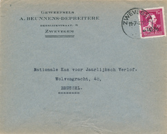 417/27 -- Lettre TP Moins 10 % Surcharge Locale ZWEVEGEM 1946  - Entete Geweefsels Beunnens-Depreitere - 1946 -10%