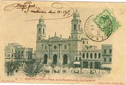 Uruguay Carte Postale Postcard Montevideo Plaza Constitucion Catedral Cathedrale Ed Rius  N°1 Ut BE - Uruguay