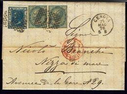 ITALIE - N° 14 En Paire + 23 Sur Lettre De Genova Du 24 Mag 76 Vers Nizza Di Mare - TB - - 1861-78 Victor Emmanuel II