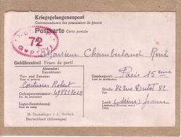 GUERRE 1939-45 - STABLACK STAMMLAGER I A POUR PARIS - KRIEGSGEFANGENENPOST CORRESPONDANCE PRISONNIER DE GUERRE -1942 - Marcophilie (Lettres)
