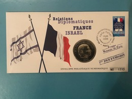 NUMISCOVER - 1ER JOUR RELATIONS DIPLOMATIQUES FRANCE ISRAEL TIMBRE FR 1999 + PIECE ISRAEL BEGIN UNC - Israel