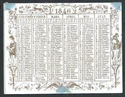 Carte Porcelaine Calendrier 1846  10 X 7,5 Cm - Calendriers