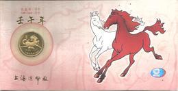 Cina, 2002, Medaglia Dorata Su Gift Card IID Numerata, Anno Del Cavallo. - Gettoni E Medaglie