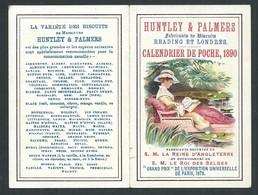 Calendrier Publicitaire Huntley Et Palmers Fabricant De Biscuits 1890  10,5 X 8 Cm - Calendriers