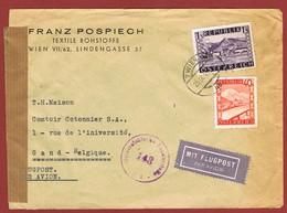 Luftpostbrief  25/9/1948 Nach Belgien 1.40 Sch - 1945-60 Briefe U. Dokumente