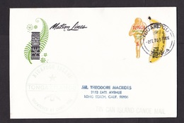 Tonga: Cover To USA, 1970, 2 Odd-shaped Stamps, Banana Fruit, Sports, Tin Can Canoe Mail, Matson Lines (traces Of Use) - Tonga (1970-...)