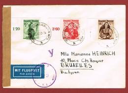 Luftpostbrief  26/3/1950  Ab Telegraphenzentralstation Wien Nach Belgien 2.20 Sch; - 1945-60 Briefe U. Dokumente