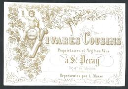 Carte Porcelaine Cousins Négociant En Vins  + Au Dos Prix Courants  11 X 7 Cm - Saint Péray