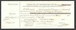Reçu / Quittance / Kwitantie Compagnie Des Propriétaires Réunis - Beaumont 1911 - Banque & Assurance