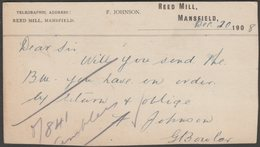 Request For Bill, F Johnson, Reed Mill, Mansfield, Nottinghamshire, 1908 - Postcard - England