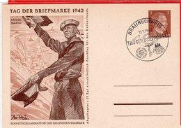 Ganzsache Tag Der Briefmarke 1942 Kriegsmarine Sonderstempel Braunschweig - Germania