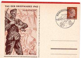 Ganzsache Tag Der Briefmarke 1942 Organisation Todt Sonderstempel Braunschweig - Germania