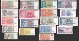 JUGOSLAWIEN - YUGOSLAVIA 18 Stück Verschiedene Banknoten   (20736 - Joegoslavië
