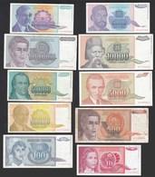 JUGOSLAWIEN - YUGOSLAVIA 10 Stück Verschiedene Banknoten   (20737 - Jugoslawien