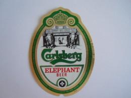 Label Etiquette Bier Bière Beer Carlsberg Elephant Beer Brewed Denmark Imported Haelterman Belgium - Bière