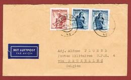 Luftpostbrief 17/3/1954 Nach Belgien BPS 4;  3.20 Sch; 2 Scan - 1945-60 Briefe U. Dokumente