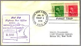 FIRST TRIP Highway Post Office: WORTHINGTON, MINN & SIOUX FALLS, S.D., 11 Enero 1954 - Correo Postal
