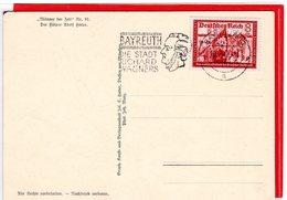 Propagandakarte Männer Der Zeit AH Werbestempel Richard Wagner Bayreuth 1942 - Germania