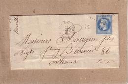 LOIRET - LETTRE DE NEUVILLE AUX BOIS POUR ORLEANS , CAD TYPE 15 - 1868 - 1849-1876: Période Classique