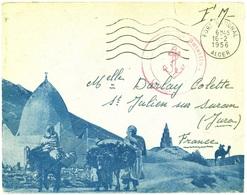 FORT NATIONAL ALGER  (Algérie) 1956 Oblit. Secap 5 Lo + Cachet 2e BATAILLON (Infanterie De Marine) - Algeria (1924-1962)