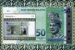 Malaysia - 2010 - Malaysian Currencies -  Mint Souvenir Sheet With Silver Hot Folio Intaglio Imprint - Malaysia (1964-...)