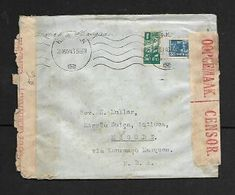 3 1/2d Cover BRAKPAN  28 MAY 43,> Magude, Mozambique. S.African Censor LabeSl,  RESSANO GARCIA 2.6.43, Transit, - South Africa (...-1961)