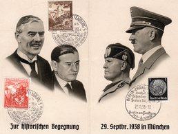 Propagandadoppelkarte Zur Historischen Begenung In München - Sonderstempel Berlin 1938 - Germania