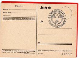Feldpostkarte Propagandaspruch - Sonderstempel Amsterdam 1944 Blanko - Deutschland