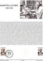 Timbre 1er Jour - MARTIN LUTHER (1483-1546) - Document Philatélique Officiel - Theologians