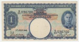 Malaya 1 Dollar 1941 VF++ KGVI Pick 11 - Malaysie