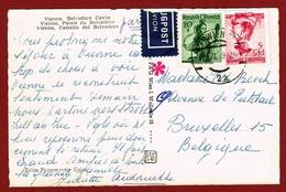 Postkarte Salzburg - Belgien 1.65 Sch. Mit Luftpostkostkrollstempel In Rot - Posta Aerea