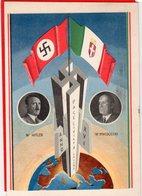 AK Propaganda - Mussolini Hitler - Mehrere Stempel Italien 1938 - Guerra 1939-45