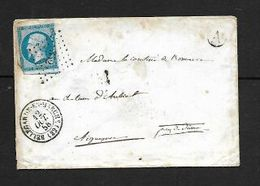 France, 20c Imperf BELLEGARDE EN MARCHE 12 OCT 58  > AIGUEPERSE 14 OCT 58 , CLENMONT A PARIS 13 OCT 58 - 1853-1860 Napoleon III