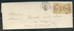 FRANCE 1865 N° 21 Paire  S/Lettre Obl. GC 85 Amiens - 1862 Napoleon III