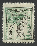 Spain, Malaga 10 C. 1937, Mi # 26, MH, Black Overprint. - Nationalist Issues