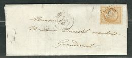 FRANCE 1863 N° 21  S/Lettre Obl. GC 2072 Londiniéres - 1862 Napoleon III