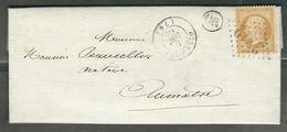 FRANCE 1869 N° 21  S/Lettre Obl. GC 2712 Oisemont + OR (Exp. De St. Maulvis) - 1862 Napoleon III