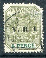 Transvaal - South Africa - 1896 V.R.I. Overprints - 4d Sage-green & Green Used (SG 231) - Short Corner - South Africa (...-1961)
