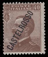 ITALIA - Isole Egeo: CASTELROSSO - Francoboolo D'Italia Del 1906/20 (soprastampa Obliqua): 40 C. Bruno - 1924 - Levant
