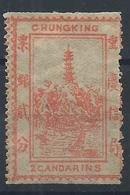 1894 CHINA CHUNGKING LOCAL UNUSED 2 CANDARINS Imperf.x Perf CHAN LCK2 $29 - Chine