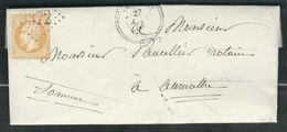 FRANCE 1863 N° 21  S/Lettre Obl. GC 3372 Senarpont (indice 8) - 1862 Napoleon III