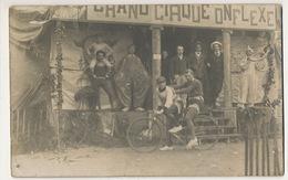 2 Cartes Photo Cirque Onflexe  Ecrite Avranches Manche Ecrite Par Acrobate Bicyclette Clown Circus Cirqu'onflexe - Cirque