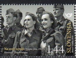 """SLOVENIA, 2018, MNH,SLOVENIAN FILMS, """"ON OUR OWN LAND"""", SOLDIERS, MILITARY,1v - Cinema"""
