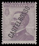 ITALIA - Isole Egeo: CASTELROSSO - Francoboolo D'Italia Del 1906/20 (soprastampa Obliqua):  50 C. Violetto (85) - 1924 - Levant