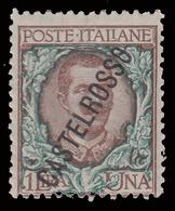 ITALIA - Isole Egeo: CASTELROSSO - Francoboolo D'Italia Del 1906/20 (soprastampa Obliqua):  Lire 1 Bruno Verde - 1924 - Levant