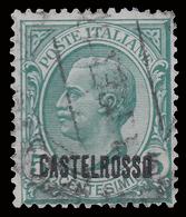 ITALIA - Isole Egeo: CASTELROSSO - Francoboolo D'Italia Del 1906/20 (soprastampa Orizzontale): 5 C. Verde (Usato) - 1922 - Levant